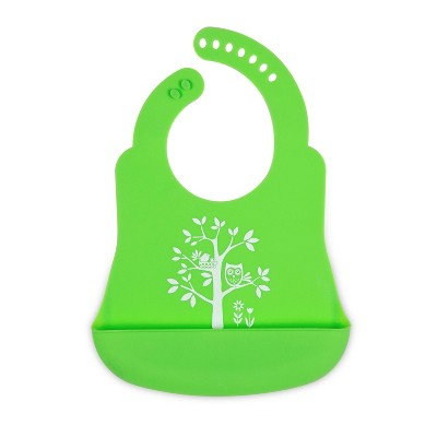 Silicone Forest Friends Party Bib Green - Brinware