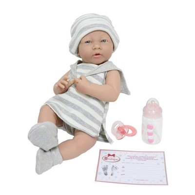 "JC Toys La Newborn 15"" Girl Doll - Gray Striped Outfit"