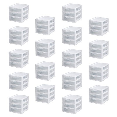 New Sterilite Small Compact Countertop 3 Drawer Desktop Storage Unit (18 Pack)