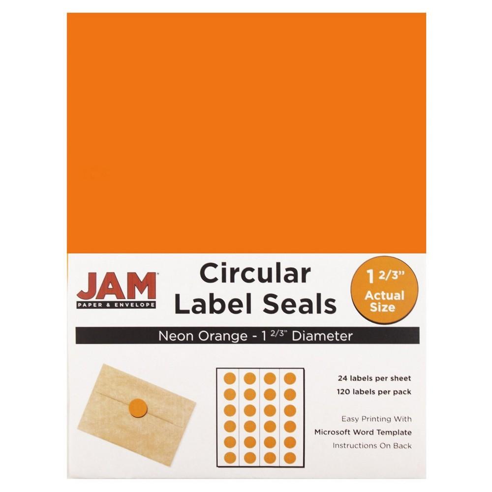 Jam Paper Circle Sticker Seals 1 2/3 120ct - Neon Orange