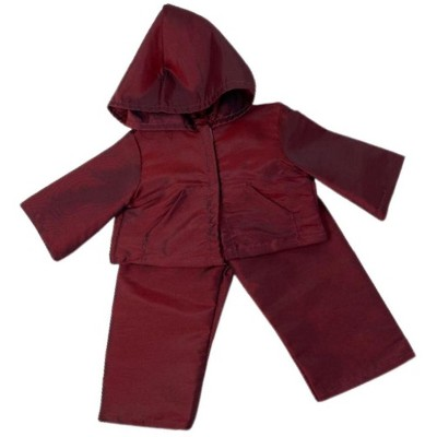 Doll Clothes Superstore Shiny Maroon Water Repellent Rain Suit With Hoodie Fits 18 Inch Girl Dolls Like American Girl