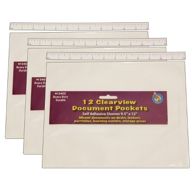 "36ct 9"" x 12"" Clear View Self-Adhesive Document Pockets - Ashley Productions"
