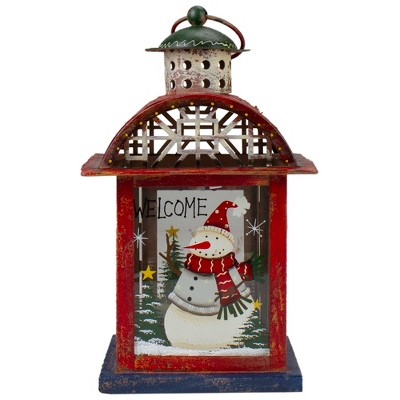 """Northlight Red, White and Gray Snowman """"WELCOME"""" Christmas Lantern 9.75"""""""