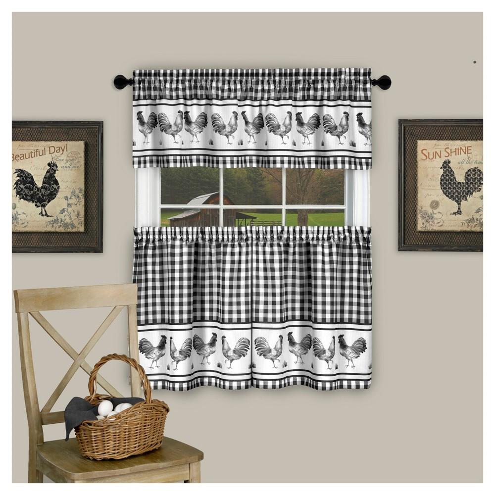 Image of Achim BRTV24BK12 58 x 24 in. Barnyard Window Curtain Tier Pair & Valance Set Black
