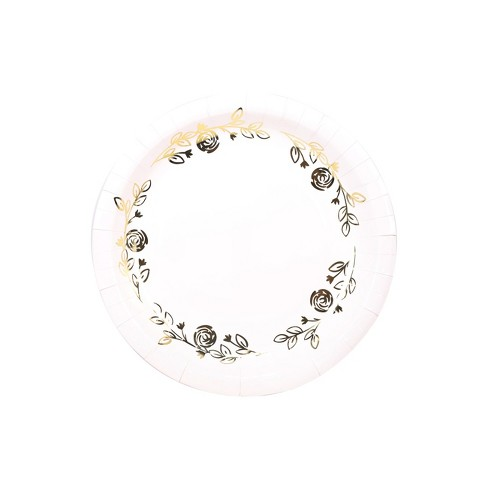 10ct Large Dinner Plates White/Gold - Spritz™ - image 1 of 2