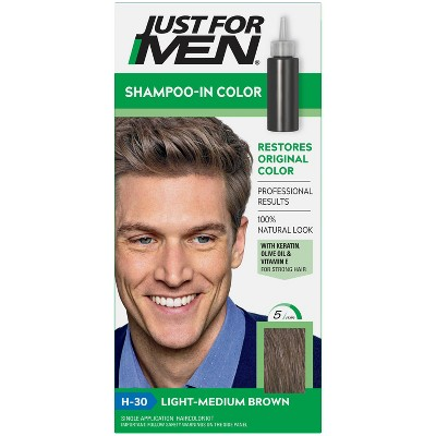 Just For Men Shampoo-In Color Gray Hair Coloring for Men - Light Medium Brown H30