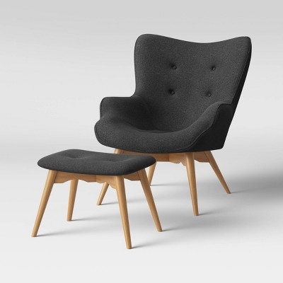 Ducon Modern Tufted Accent Chair with Ottoman Dark Gray - Project 62™