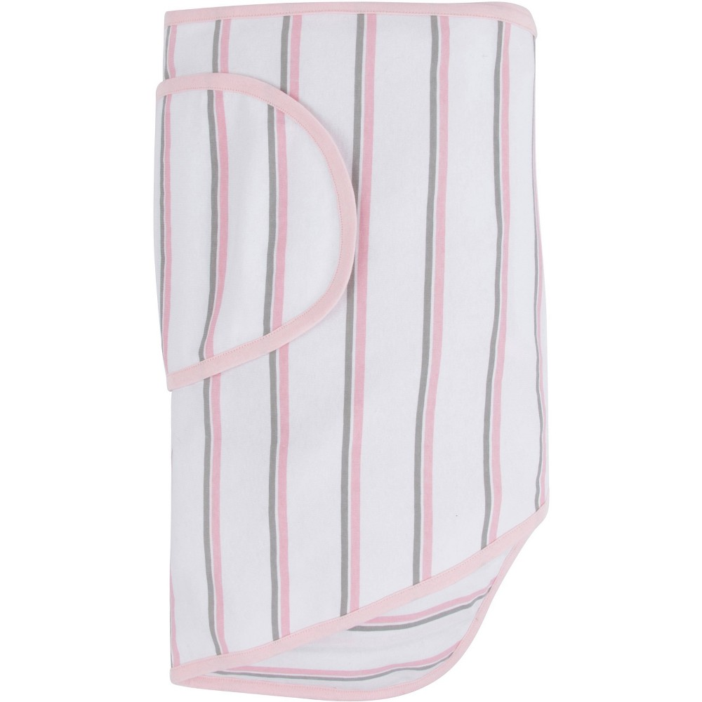Miracle Blanket Swaddle Wrap Pink Gray Stripes