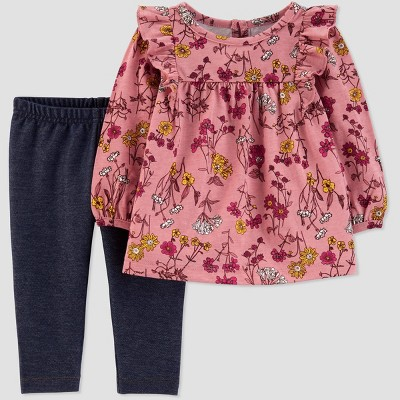 Baby Girls' Chambray Floral 2pc Top & Bottom Set - Just One You® made by carter's 3M