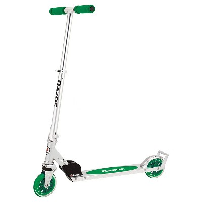 Razor A3 Lightweight Kick Push Folding Aluminum Portable Scooter for Kids with Foam Grips, Rear Fender Brake, and Wheelie Bar, Green