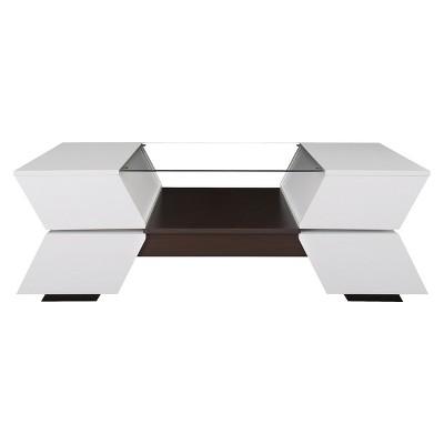 Lucas Modern Sofa Table White/Walnut - HOMES: Inside + Out