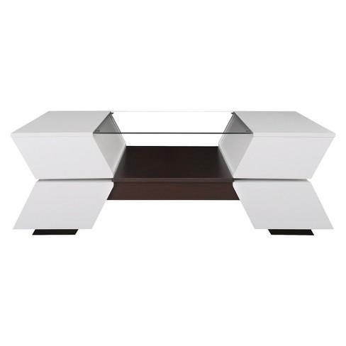 Lucas Modern Sofa Table White/Walnut - ioHOMES
