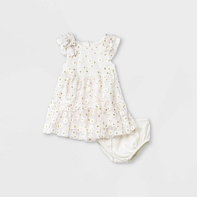 Baby Girls' Floral Mesh Elevated Tulle Dress - Cat & Jack™ Cream