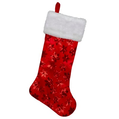 """Northlight 20.5"""" Red and White Sequin Snowflake Christmas Stocking"""