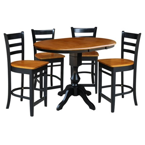 36 Round Extendable Dining Table With 12 Drop Leaf And 4 Emily Counter Height Barstools Black Cherry International Concepts Target - What Height Chairs For 36 Inch Table