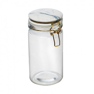 Amici Home Carrara Marble Round Glass Canister, 32oz