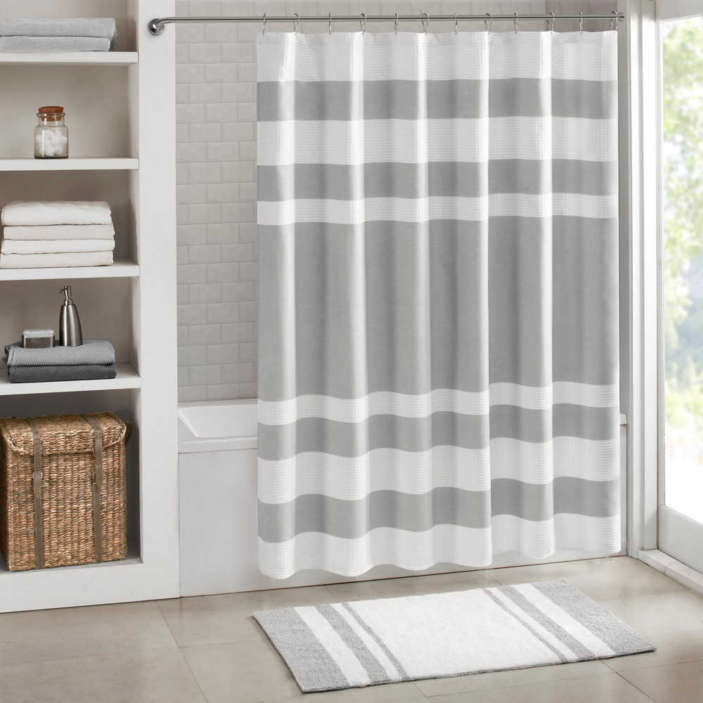 Spa Waffle Shower Curtain with 3M Treatment Grey