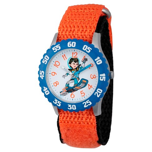 Boys' Disney Miles from Tomorrow Land Stainless Steel Time Teacher Watch - Orange - image 1 of 2