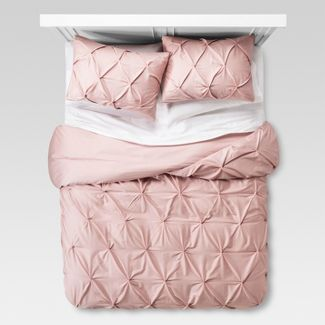 Blush Pinched Pleat Duvet Cover Set (Full/Queen) 3pc - Threshold™