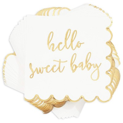 """Sparkle and Bash 50Pcs HELLO SWEET BABY Paper Disposable Napkins 6.5"""" for Baby Shower Tableware Decorations"""