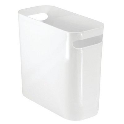 mDesign Slim Plastic Small Trash Can Wastebasket with Handles