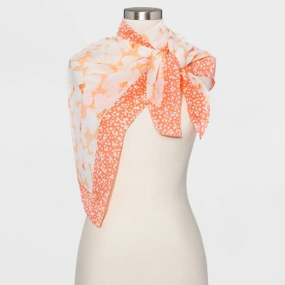 Women's Floral Print Square Crepe Scarf - A New Day™ Coral One Size