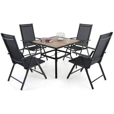 5pc Patio Set with Square Faux Wood Top Table & Reclining Sling Chairs with Armrests - Captiva Designs