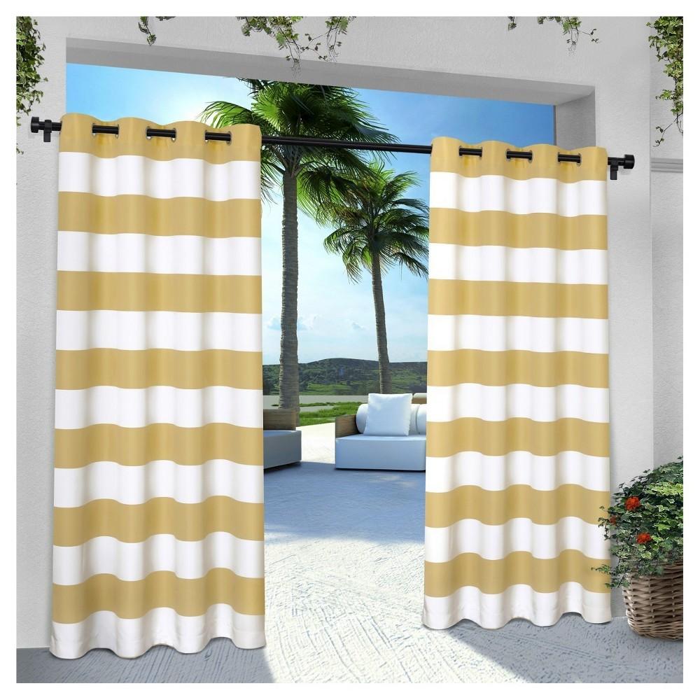 """Image of """"Indoor/Outdoor Cabana Stripe Grommet Top Window Curtain Panel Pair Sundress (54""""""""x84"""""""") Exclusive Home"""""""