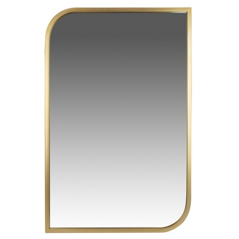 """31""""x21"""" Metal Rounded and Pointed Rectangular Wall Mirror Gold - Patton Wall Decor - image 1 of 4"""