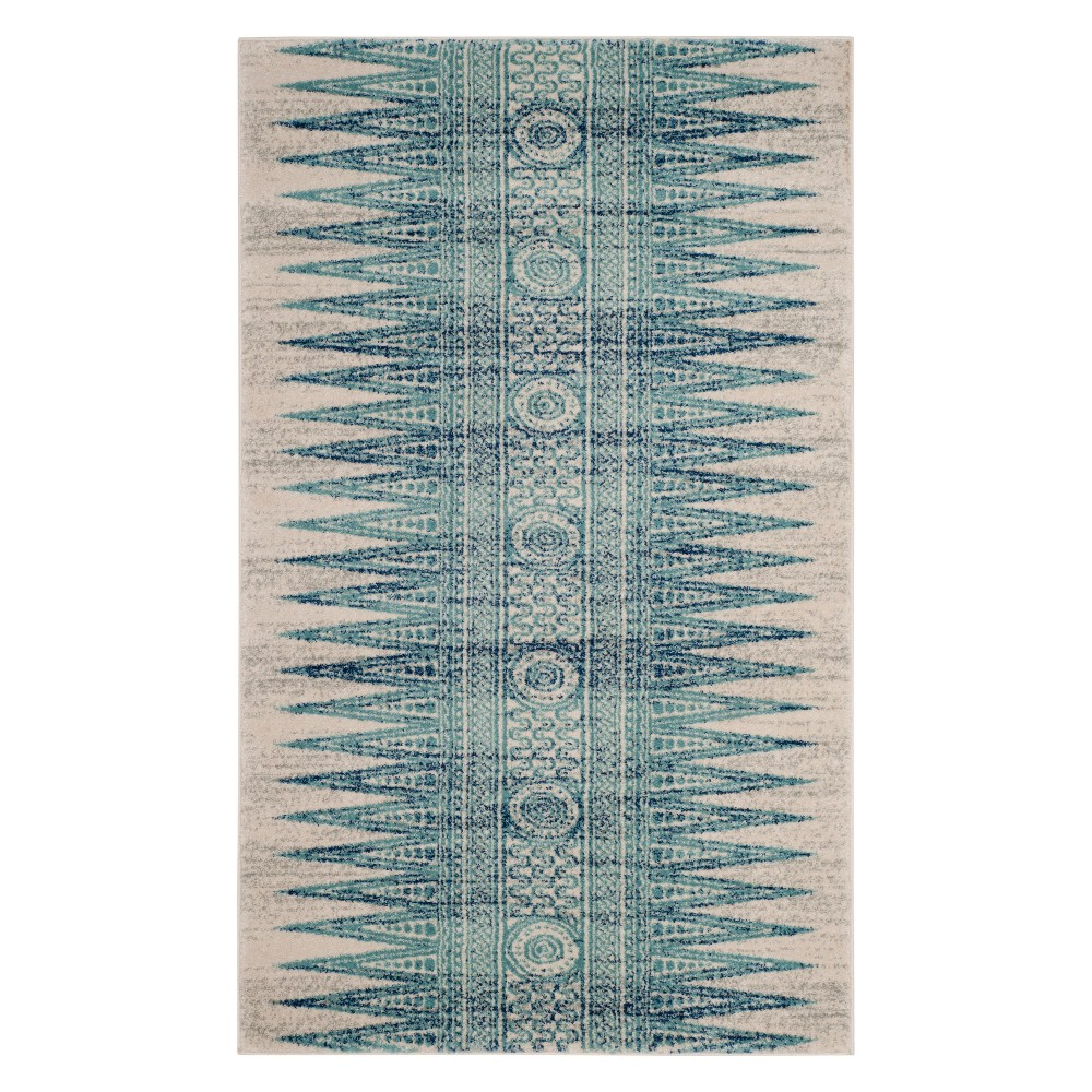 22X4 Geometric Design Loomed Accent Rug Ivory/Turquoise - Safavieh Buy