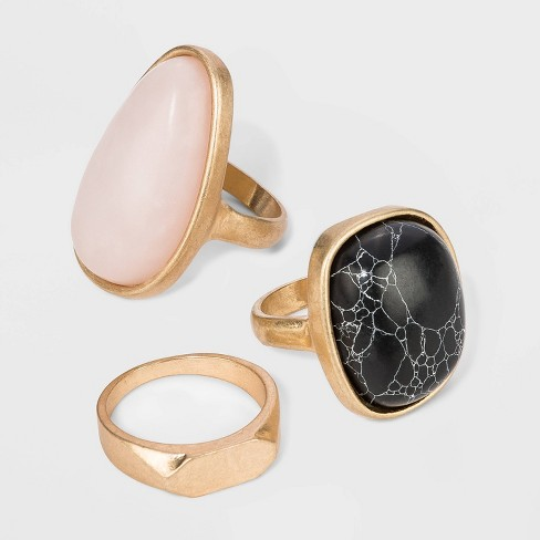 Mixed Semi-Precious Stone in Worn Gold Ring Set - Universal Thread™ - image 1 of 1