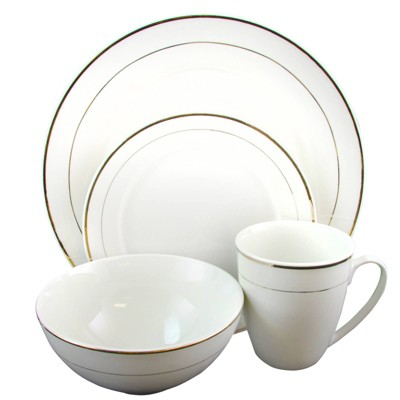 Gibson Home 16pc Stoneware Palladine Gold Banded Dinnerware Set