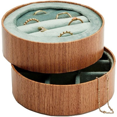 Juvale 2-Pack Wooden Round Jewelry Trays with Green Velvet for Rings and Earring (4.3 x 4.3 x 1.4 In)