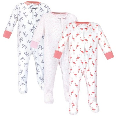 Yoga Sprout Baby Girl Cottton Zipper Sleep and Play 3pk, Flamingo