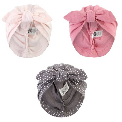 Hudson Baby Baby Girl Turban Cotton Headwraps, Pink Feather, One Size