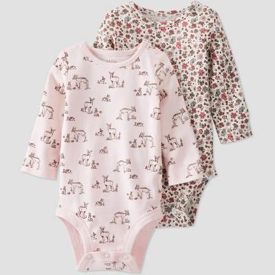 Baby Girls' 2pk Organic Cotton 'Dear' Bodysuit - little planet by carter's Pink/Beige