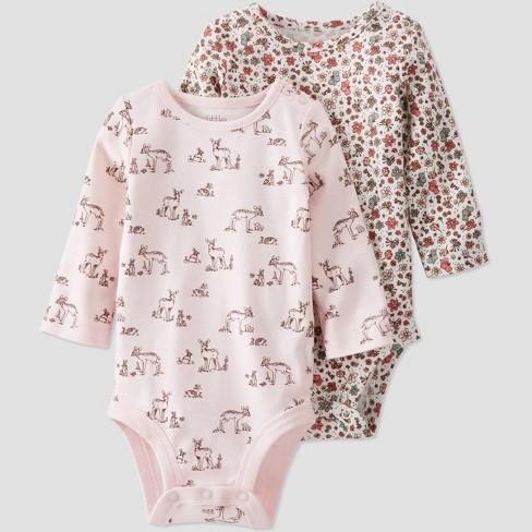 Baby Girls' 2pk Organic Cotton 'Dear' Bodysuit - little planet by carter's Pink/Beige - image 1 of 4