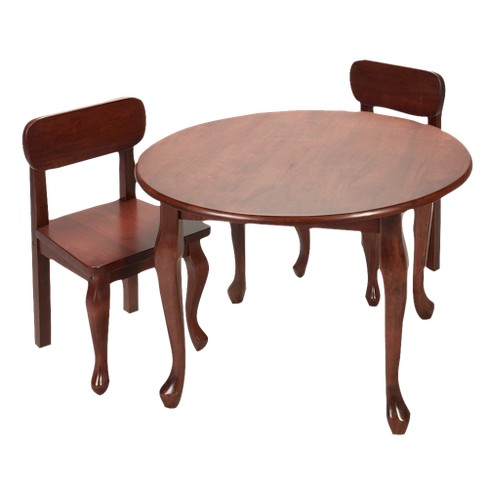 Queen Anne Round Table And 2 Chairs Cherry