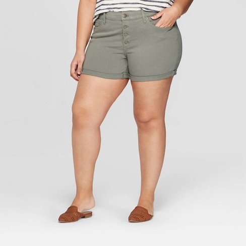 e42d97cb60 Women's Plus Size Mid-Rise Jean Shorts - Universal Thread™ Olive : Target