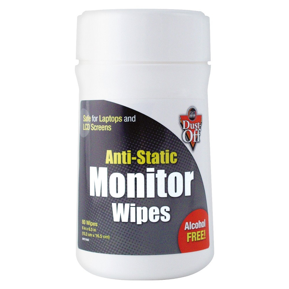 Dust - Off Premoistened Monitor Cleaning Wipes - Cloth - 6 x 6 1/2 - 80/Tub Premoistened, antistatic wipes are soft and thick to safely remove dust, dirt and lint from sensitive computer and laptop screens. Quick-drying, no-streak formula. Towel/Wipe Type: Screen Wipes; Application: Screens; Laptop; Applicable Material: Glass; Material(s): Cloth.