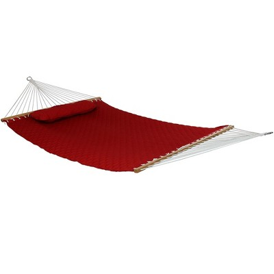 Quilted Designs Quilted Fabric Hammock - Red - Sunnydaze Decor