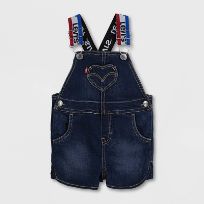 Levi's® Baby Girls' Logo Strap Denim Shortalls - Blue