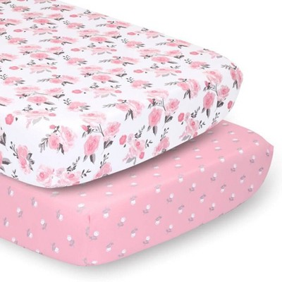 PS by The Peanutshell Sheets Pink Roses/Floral 2pk