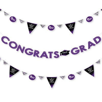Big Dot of Happiness Purple Grad - Best is Yet to Come - 2021 Grad Party Letter Banner Decor - 36 Banner Cutouts and Congrats Grad Banner Letters