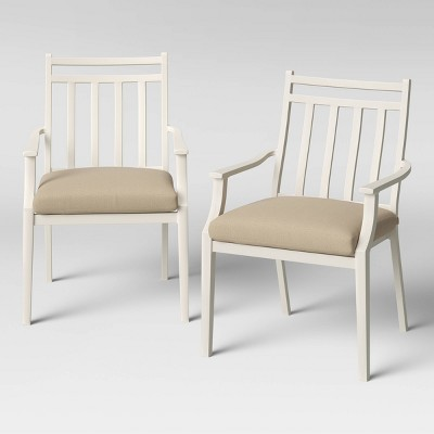 Fairmont 2pk Stationary Patio Dining Chairs - White/Tan - Threshold™
