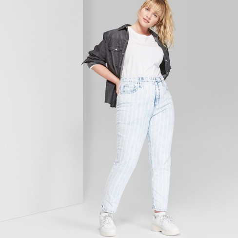 7dbcd421864d Women s Plus Size Striped High-Rise Bleached Railroad Mom Jeans - Wild Fable™  Blue