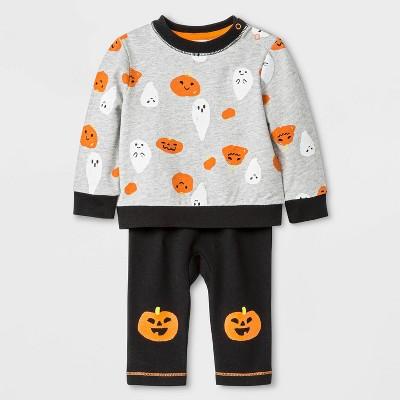 Baby Boys' Long Sleeve Pumpkin Halloween Top and Bottom Set - Cat & Jack™ Gray/Black 0-3M