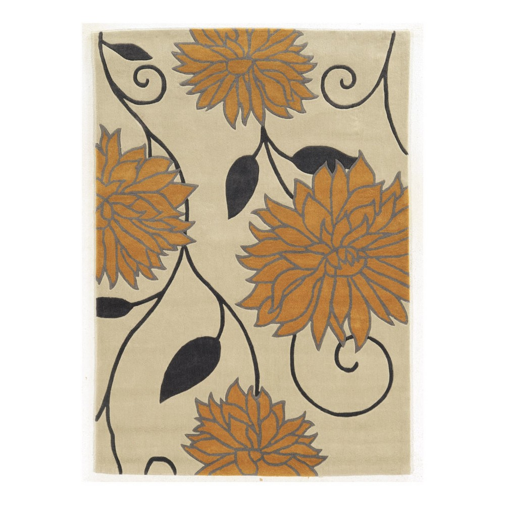 Light Off-White Floral Loomed Area Rug 8'X10' - Linon, Off-White Gold