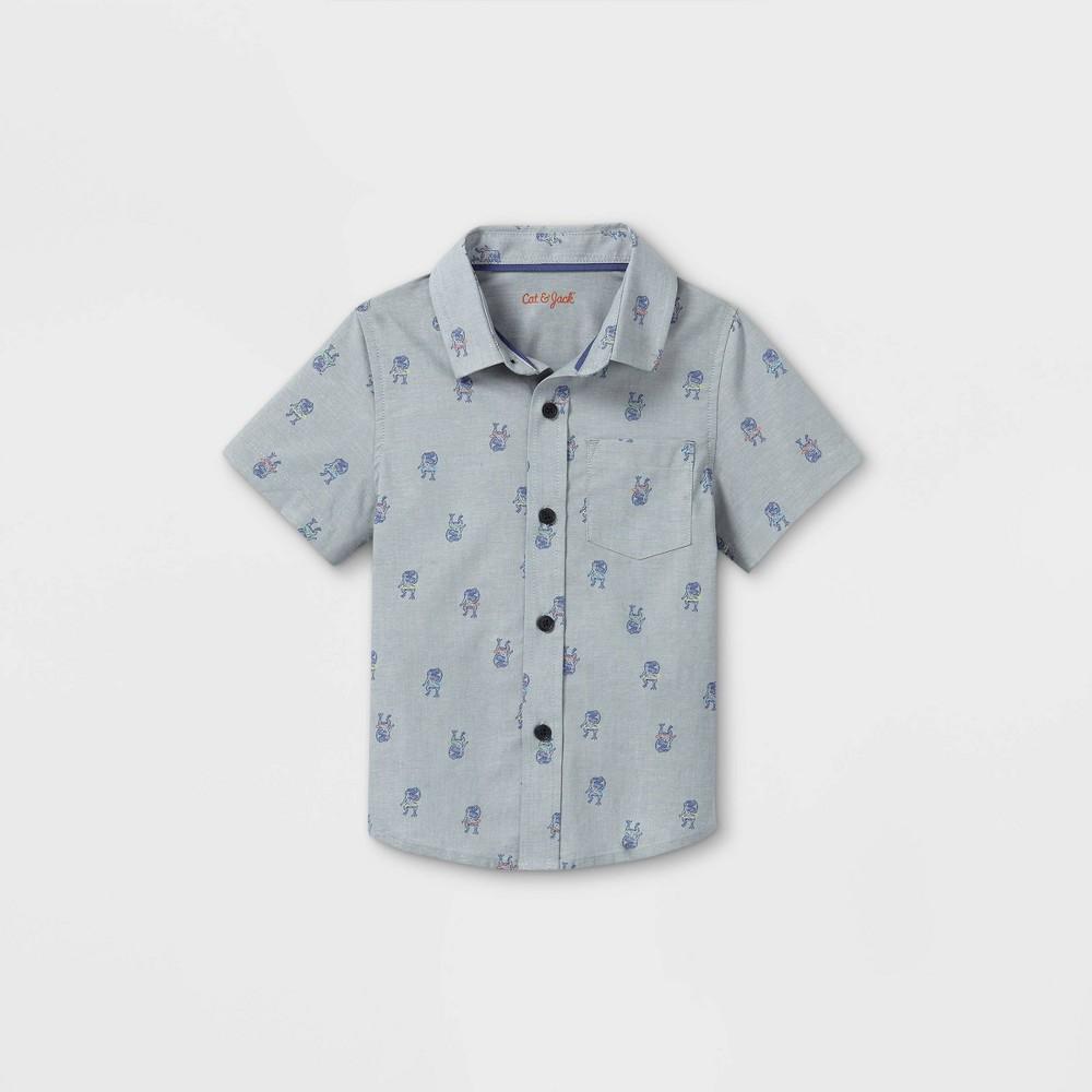 Toddler Boys 39 Dino Hula Hooping Poplin Woven Short Sleeve Button Down Shirt Cat 38 Jack 8482 Gray 12m