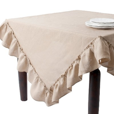 Ruffled Design Tablecloth Khaki 84
